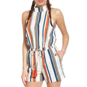 Moon River Striped Halter Romper